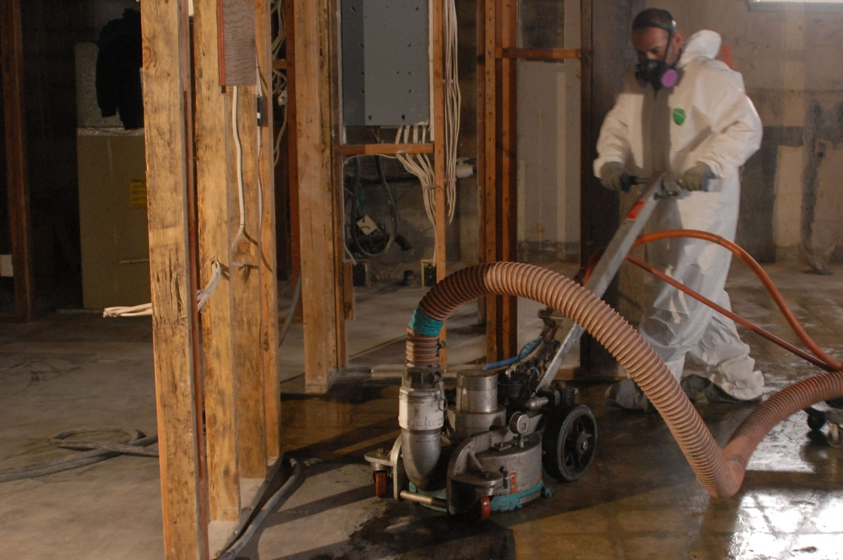 MESS Clean Up worksite with selective demolition and floor cleaning. Serving California's Central Coast with Asbestos, Mold, Lead, and Selective Demolition