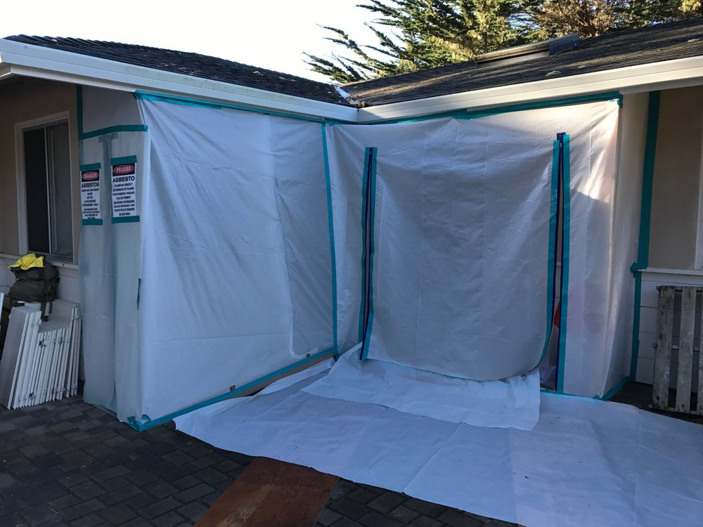 MESS Clean Up worksite exterior containment for abatement and remediation. Serving California's Central Coast with Asbestos, Mold, Lead, and Selective Demolition