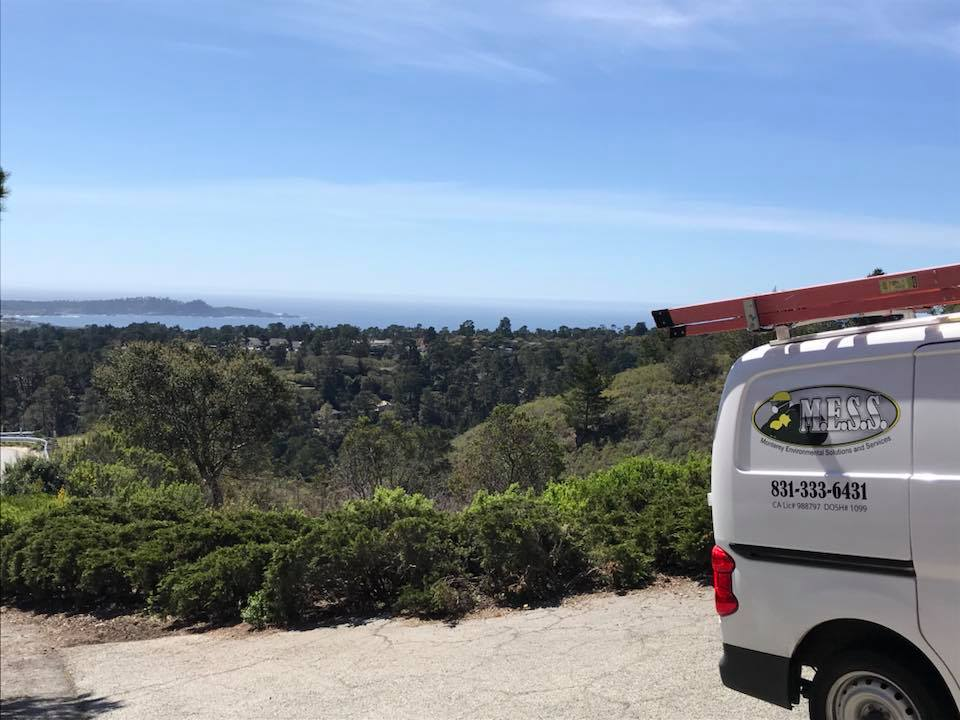 MESS Clean Up work van overlooking the Central Coast ocean. Serving California's Central Coast with Asbestos, Mold, Lead, and Selective Demolition